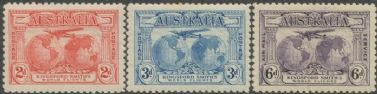Australia KGV SG121-3 1931 Kingford Smith's World Flights set of 3 (AGCM/637)